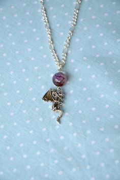 Silver dragon necklace with purple dragons vein by otterlydesign, $23.49