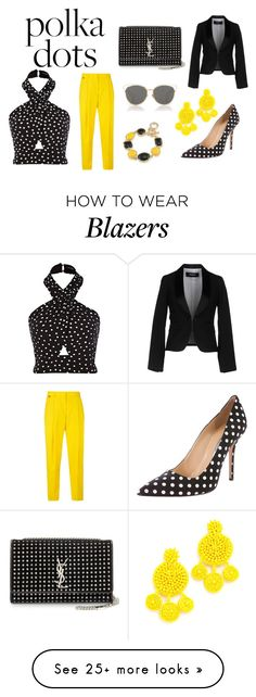 """Black and Yellow Polka Party"" by emmajuff on Polyvore featuring Paul Smith, Mochi, Oscar de la Renta, 1st & Gorgeous by Carolee, Yves Saint Laurent, Christian Dior and Dsquared2"