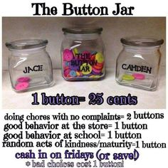 Could switch this up for some major classroom management. Do candy instead or major rewards. Button rewards for kids. Great way to encourage chores and good behavior. Added a good behavior all day at home too; Chore Rewards, Kids Rewards, Reward System For Kids, Behavior Incentives, Chore List, Reward Chart Kids, Chore Chart Kids, Chores For Kids, Activities For Kids