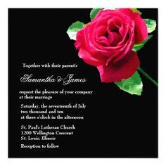 Single Red Rose Wedding Invitation
