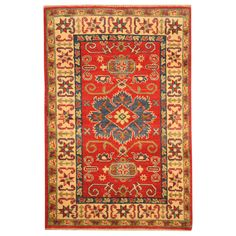 Herat Oriental Afghan Hand-knotted Tribal Kazak Red/ Ivory Rug