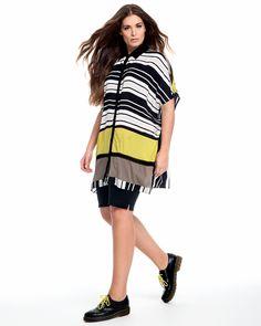 Shop Mat Fashion Stripe Lattice Trim Shirt from idaretobe UK stockist. Mat Fashion, Striped Fabrics, Spring Summer 2016, Black And White, Yellow, Shirts, Shopping, Collection, Tops