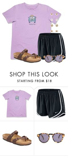 """""""Road trips with your friends are """" by flroasburn ❤ liked on Polyvore featuring Life is good, NIKE, Birkenstock, Illesteva and Forever 21"""