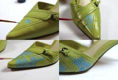 Si cuentas con un par de zapatos que ya te aburrio, pero se encuentra en buen estado puedes reciclarlos agregando nuevos detalles. En este c...