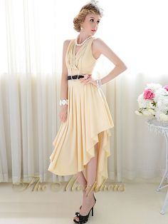 Morpheus Boutique  - Beige V Neck Sleeveless Pleated Hemline Trendy Dress