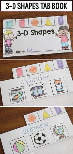3-D Shapes Tab Book - This is a fun, interactive way for your students to practice identifying and sorting 3-D shapes! The book includes cube, cylinder, sphere, cone, and rectangular prism.