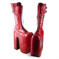 Handmade Red PU Leather 25cn Platform Punk Lolita Boots  #Lolita Boots