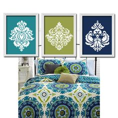 Turquoise & Green for the Bedroom and Navy & Green for the Bathroom. Everything ties together : )