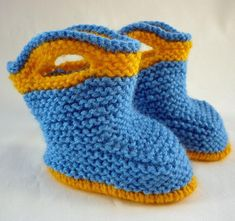 These knitted baby booties are a fun take on childrens' pull-on rain boots. They are knit flat on straight needles and use small amounts of yarn - less than 20 grams (50 metres) of each colour. There are plenty of stage by stage photos throughout to help you make these cute baby booties