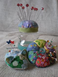Patchwork Pincushions 2 by Littlelixie, via Flickr