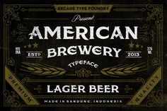 American Brewery was inspired by lettering found on vintage beer label. Ideal for product names, packages, labels, old fashioned coffee shops, bars and everything with specific characteristics of past times. Vintage Fonts, Vintage Signs, Vintage Type, Vintage Clip, Old School Fonts, American, Letter Find, Retro Font, Tattoo Fonts