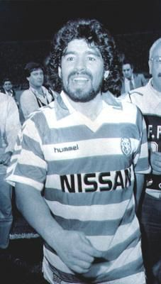 Maradona in a Sportung shirt after UEFA Napoli game.
