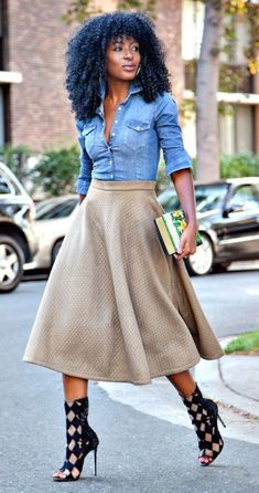 Denim shirt & midi skirt / Casual Friday Style / Dress Down Friday