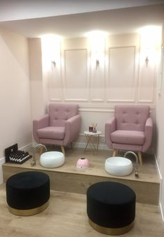 Beauty salon interior, hair and beauty salon, nail shop, nail bar, pedicure Home Nail Salon, Nail Salon Design, Hair Salon Interior, Nail Salon Decor, Salon Interior Design, Spa Room Decor, Beauty Room Decor, Beauty Salon Decor, Beauty Salon Design