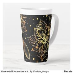 Black & Gold Poinsettias & Holly Latte Mug Coffee Drinks, Coffee Mugs, Latte Mugs, Beer Mugs, Christmas Items, Holiday Treats, Christmas Card Holders, Poinsettia, Keep It Cleaner