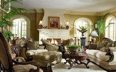 Classic Living Room Design With Live Plants Decorations And Fireplace