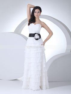 Randilynn - robe de mariée a-ligne longueur ras du sol en mousseline polyester avec fleurs
