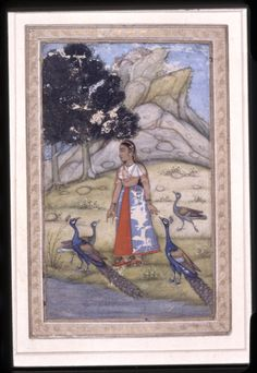 Painting. Ragamala. A woman standing in a field with peacocks. Painted on paper.