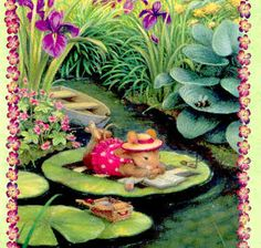 Mouse Sunbathing on Lily Pad -Susan Wheeler
