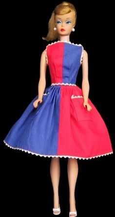 Vintage Barbie ..we loved making clothes for our Barbie's. Back then, we only had one Barbie each, and a Ken doll.