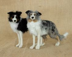 Ranger and Rover the Border Collies: Needle felted animal sculptures by The Woolen Wagon
