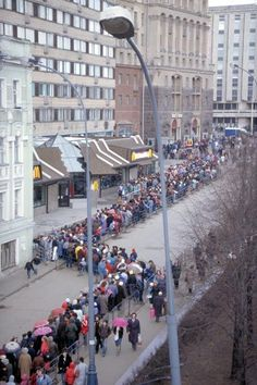 Opening of the first McDonald's in the Soviet Union, Moscow, 1991... McDonalds was the first restaurant we went to when we arrived in Russia...not by choice lol lol