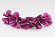 Delicate handmade flowers on a band, with crystal centres. Flower Hair Band, Bridesmaid Accessories, Handmade Flowers, Amethyst, Delicate, Crystals, Design, Amethysts