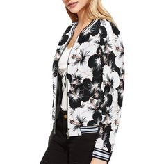 Farandole d'hibiscus black and white Striped Jacket, Date, Hibiscus, Hooded Jacket, Stripes, Athletic, Black And White, Model, Jackets