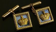 Russian Imperial presentation cuff links by Faberge, made in St. Petersburg around 1910, workmaster Alfred Thielemann.