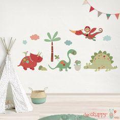 Vinilo infantil Dinosaurios buenos exclusivo y decorativo de pared que puedes comprar en la tienda online de vinilos infantiles adhesivos de pared.