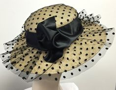 Natural Straw Summer  Womens Hat, Kentucky Derby Hat, Summer Straw Black Hat by MakowskyMillinery on Etsy