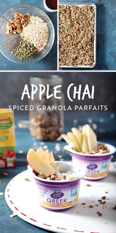 Apple Chai Spiced Yogurt Parfaits make the perfect fall breakfast. These parfaits are a flavorful and filling for busy parents, professionals and kids. Breakfast Parfait, Best Breakfast, Healthy Breakfast Recipes, Healthy Recipes, Smoothies For Kids, Yogurt Parfait, Apple Juice, Morning Food, Greek Yogurt