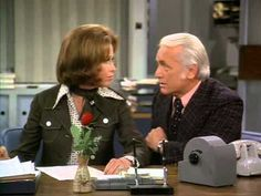 """The """"Mary Tyler Moore Show"""".  I watched it as a kid.  They sure don't make sitcoms like they used to, and The MTM show was one of the best.  Here Mary is conversing with Ted (Ted Knight), the anchorman-not the sharpest knife in the drawer and in need of constant praise-he stole almost any scene he was in. Click here to watch the episode, """"Anyone Who Hates Kids and Dogs""""..: http://www.youtube.com/watch?v=TfylGVFBBpo=share"""
