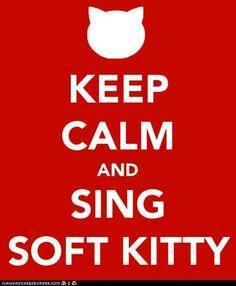 Soft kitty, warm kitty, little ball of fur kitty....BIG BANG THEORY!!!