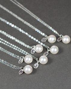 Monogram jewelry initial leaf pearl   by thefabjewelrywedding, $27.80