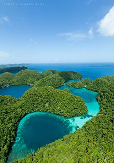 Rock island blue hole from above, Micronesia