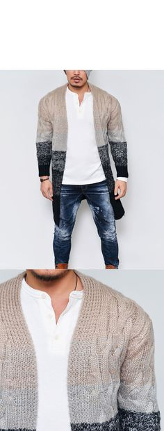 Outerwear :: Cardigans :: Chunky Gradation Wool Shawl Long Knit-Cardigan 103 - Mens Fashion Clothing For An Attractive Guy Look