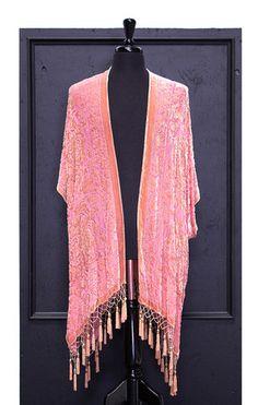 Medallion Traveler Velvet Burnout Tassel Kimono - Salmon - Saltwater Gypsy