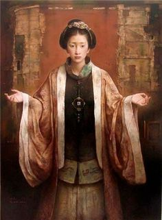 """:: Tang Wei Min - """"Red Line"""" : a portrait of his wife in Tang Dynasty clothing ::"""
