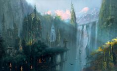 Download desktop wallpaper Elven city Elven city Fantasy city Fantasy landscape