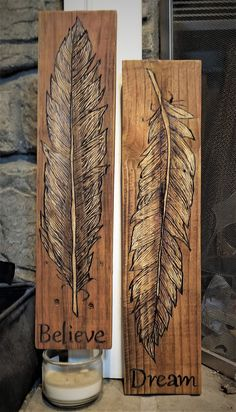 Wood burned Feather Wall Decor A feather is a reminder you are loved by infinite people, both here on earth and otherwise. It is believed that a feather is a gift from the spirit world. If you see one, pick it up. You will be blessed the entire day.