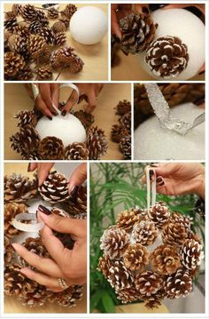 DIY Pinecone Poms for Winter Weddings. A budget-friendly way to create a chic winter look all your own wiht this pom balls with pine cones for your winter occasion. Handmade Christmas Crafts, Christmas Projects, Holiday Crafts, Christmas Holidays, Holiday Decor, Christmas Ideas, Natural Christmas, Country Christmas, Pine Cone Decorations