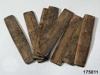 Old Sami runic calendars, carved from wood.