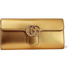 Gucci GG Marmont faux pearl-embellished metallic leather clutch (€1.020) ❤ liked on Polyvore featuring bags, handbags, clutches, gold, real leather purses, leather purses, brown handbags, metallic purse and metallic leather handbags