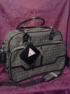 Guess Mingo Luggage Tote Diaper Travel Bag Faux Snake Trim Brown