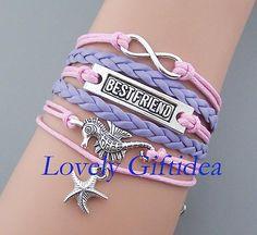 Infinity bracelet Seahorse bracelet Best friend charm Starfish jewelry Light purple leather pink rope,Women cuff,gift for sister,girlfriend by LovelyGiftidea, $5.99