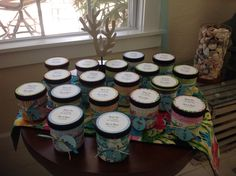 Used recycled Talenti gelato containers and covered with beach scrapbook paper. Cut and print lids with name and dates with cameo. Round tag cut with cricut. Filled with sea shell chocolates and chocolate covered pretzels Gift Crafts, Diy Gifts, Fun Crafts, Diy Ideas, Party Ideas, Craft Ideas, Reuse Containers, Beach Meals, Food Jar