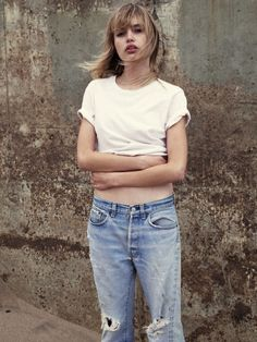 simple ripped denim jeans and simple white shirt - normcore style 2014 trend