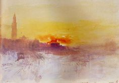 Joseph Mallord William Turner - Painter of Light - Venice At Sunrise From The Hotel Europa, With The Camponile Of San Marco - Joseph Mallord William Turner, Art Romantique, Turner Watercolors, Watercolor Images, Watercolor Basic, Watercolor Paintings, Watercolours, Oil Paintings, Turner Painting