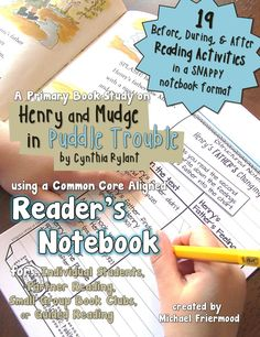 "Kids love having their own little notebooks. Teachers love having kids think deeply about text. And who doesn't love Henry and Mudge?  Combine all of this good stuff with my ""Book Study: Henry & Mudge in Puddle Trouble {A Reader's Notebook}."""